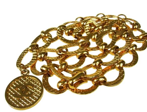 Thắt lưng Chanel xích vàng 1 logo