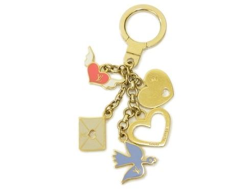 Móc chìa khóa Louis Vuitton màu xanh trắng hồng