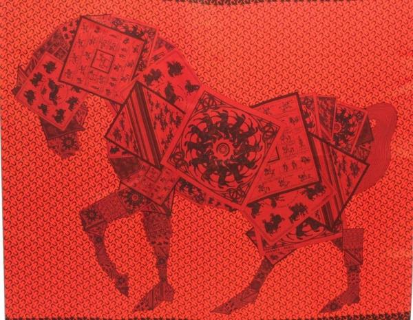 NEW Khăn lụa Hermes hình ngựa màu đỏ