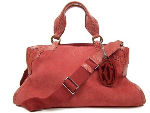 SA Túi xách Cartier da lộn màu đỏ
