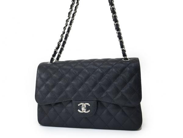 S Túi xách Chanel classic jumbo caviar màu đen