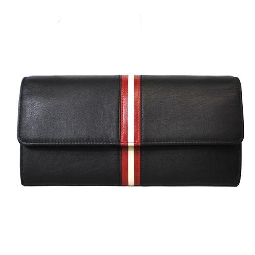 NEW Ví da Bally UENSA đen đỏ