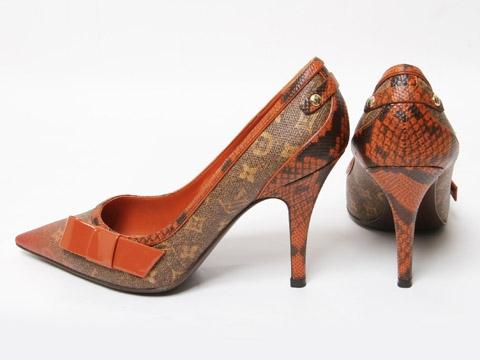 MS5029 Giày louis Vuitton size 36 1/2 màu cam gót nhọn