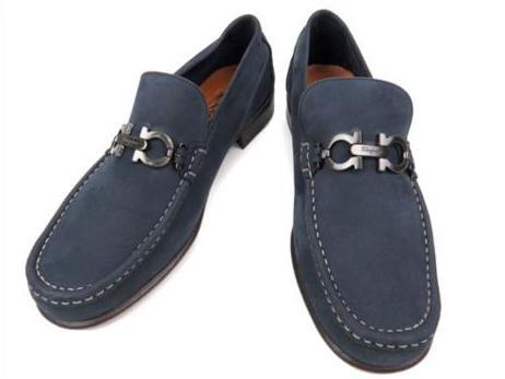 S Giày Ferragamo size 8 1/2 EE màu xanh da lộn