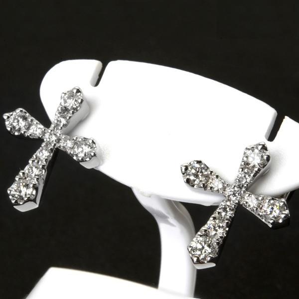 Bông tai Mikimoto K18WG kim cương 0.32ct