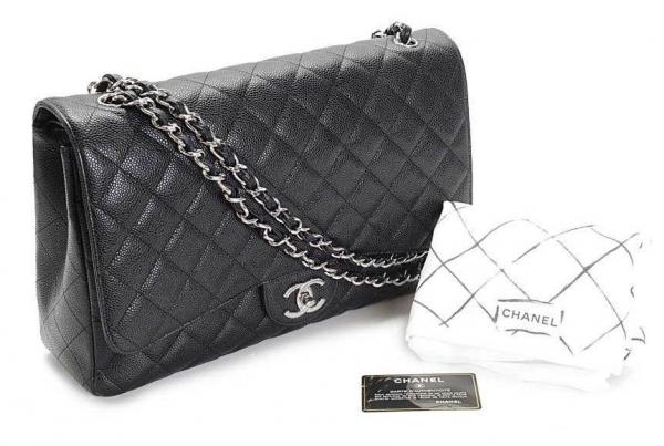 S Túi xách Chanel caviar da sần màu đen