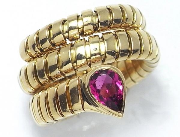 Nhẫn Bvlgari hình rắn K18YG ruby size 9