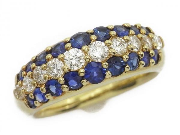 Nhẫn vàng K18YG kim cương saphire size 12