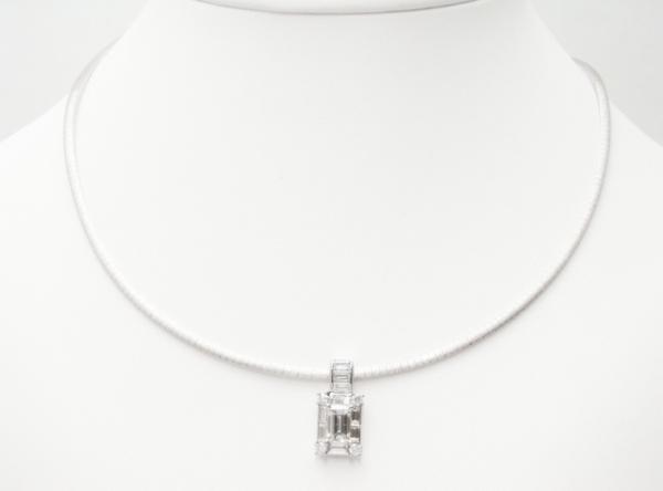Vòng cổ vàng K18WG/ Pt900 kim cương 1.003ct