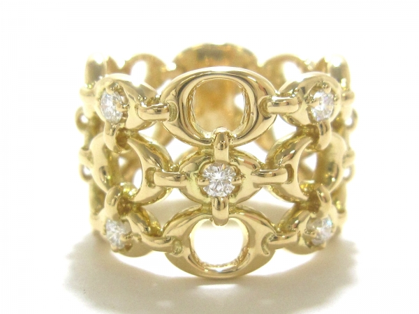 Nhẫn Christian Dior K18YG kim cương 5P size 55