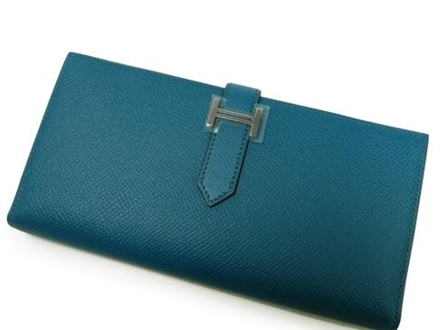 NEW Ví da Hermes màu xanh