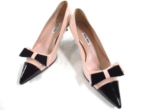 Giày Miu Miu size 36 màu đen kem hồng