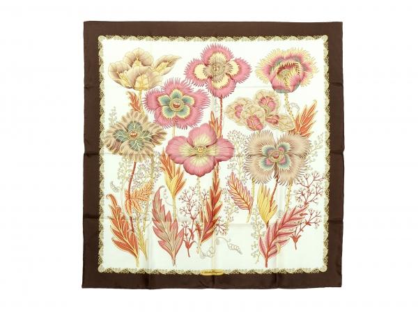 MS4797 Khăn Ferragamo hoa viền nâu