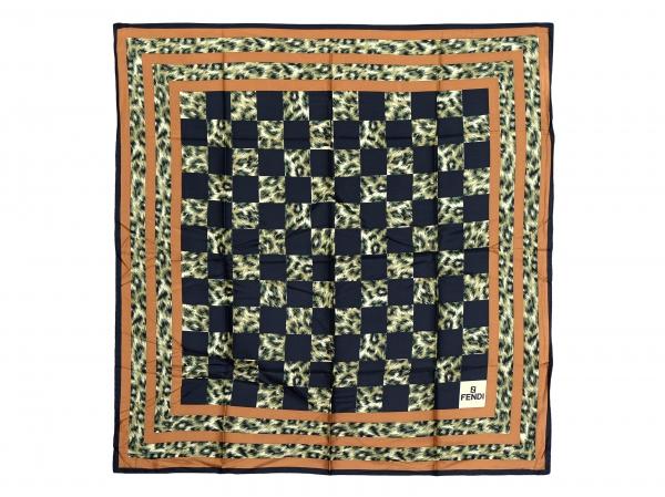 MS4934 khăn fendi lụa kẻ ô đen