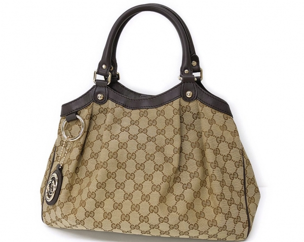 Túi hàng hiệu Gucci 211944 sukey viền da nâu