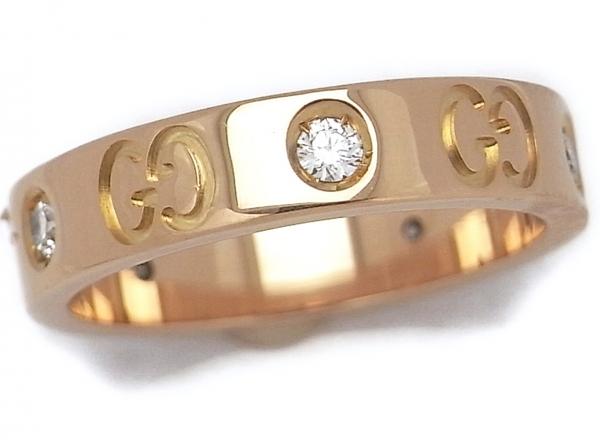 Nhẫn hàng hiệu Gucci biểu tượng 5P Diamond K18 PG