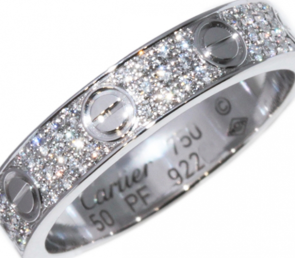 SA Nhẫn Cartier mini paved K18WG kim cương size 50