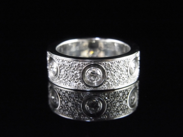 Nhẫn Cartier K18WG kim cương size 48