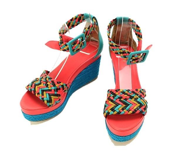 Sandal Hermes hồng xanh size 37