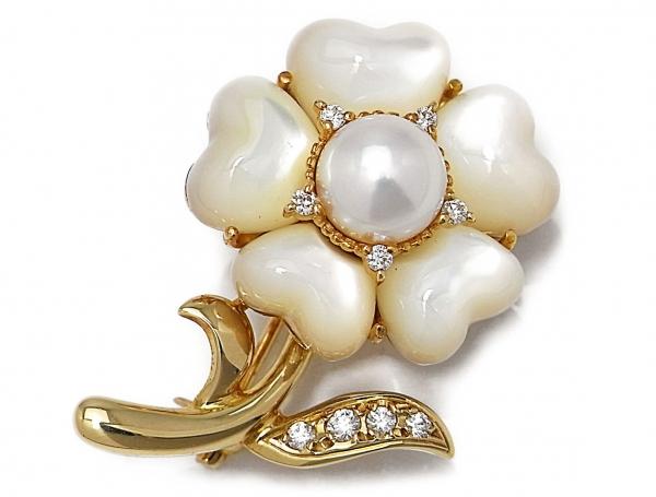 Trâm cài áo Mikimoto ngọc trai đính kim cương K18YG Pendant