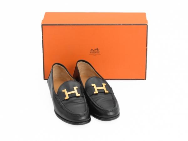 MS4155 Giày Hermes size 35 1/2 đen SUMMER SALE