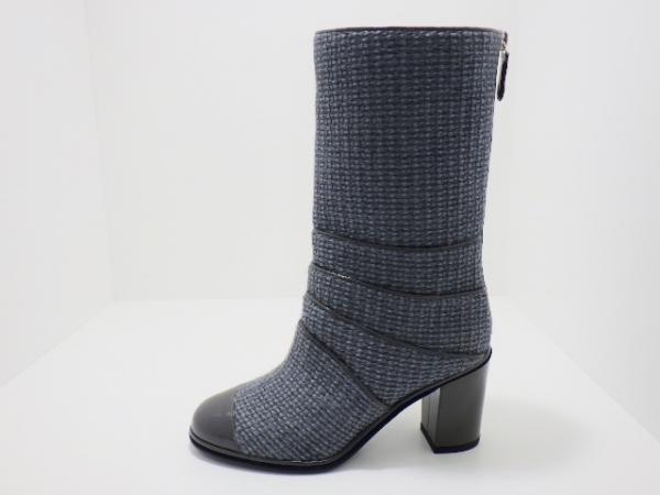 Boot Chanel màu xám xanh size 37