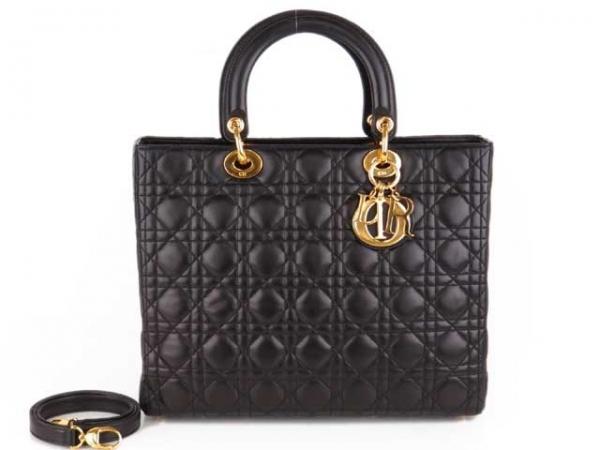 SA Túi xách Christian Dior màu đen khóa vàng