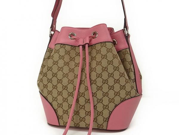 Túi xách nữ Gucci drawstring  viền da hồng 381.597