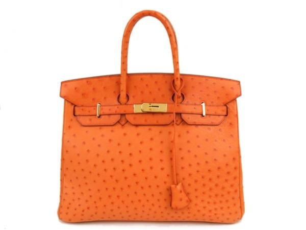 Túi hermes birkin 35 ostrich cam khóa vàng