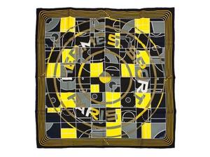 NEW Khăn Hermes 90 đen vàng SPORT