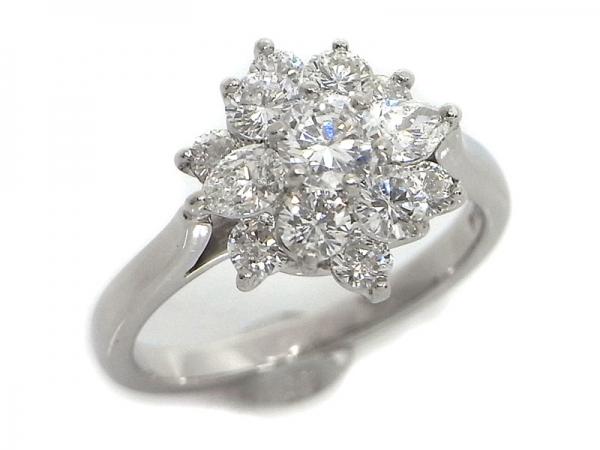Nhẫn kim cương Tiffany & Co hình hoa màu trắng size 11
