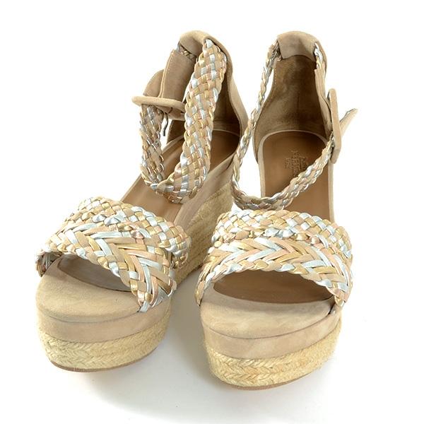 S Sandal Hermes màu be xanh size 35