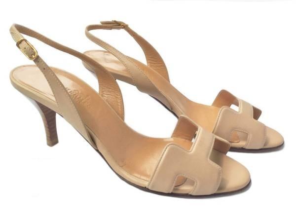 Sandal Hermes màu kem size 36 1/2