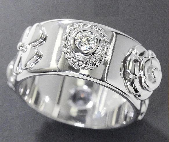 Nhẫn Chanel K18WG kim cương hoa trà size 11