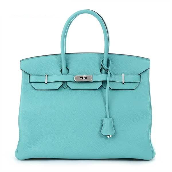 NEW Túi xách Hermes birkin 35 Clemence màu xanh