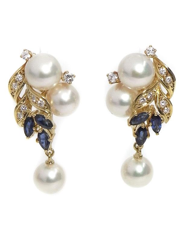 SA Bông tai Mikimoto ngọc trai saphire kim cương