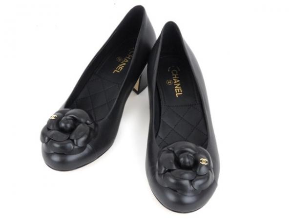 S Giày Chanel bông hoa trà màu đen size 37 1/2
