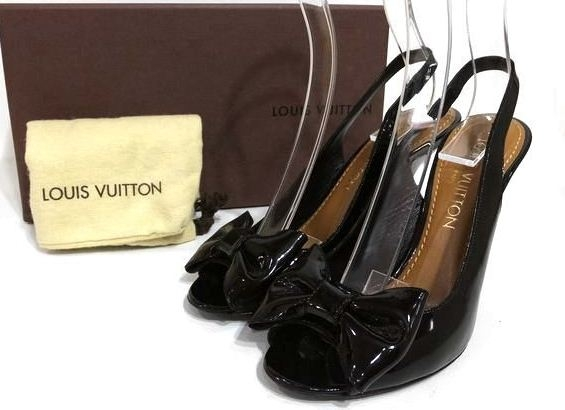 MS5225 Sandal Louis Vuitton nơ size 35 da bóng SUMMER SALE