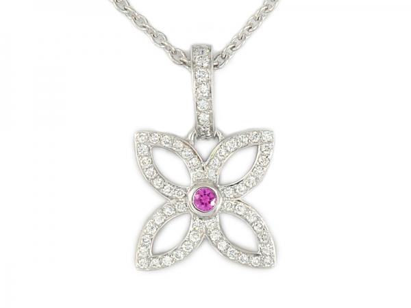 Vòng cổ Louis Vuitton K18WG kim cương Q93171