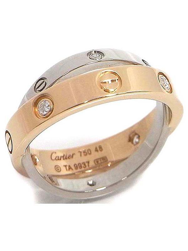 SA Nhẫn Cartier 18WG/PG 6 viên kim cương size 48