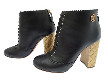 Boot da Chanel màu đen gót vàng size 38