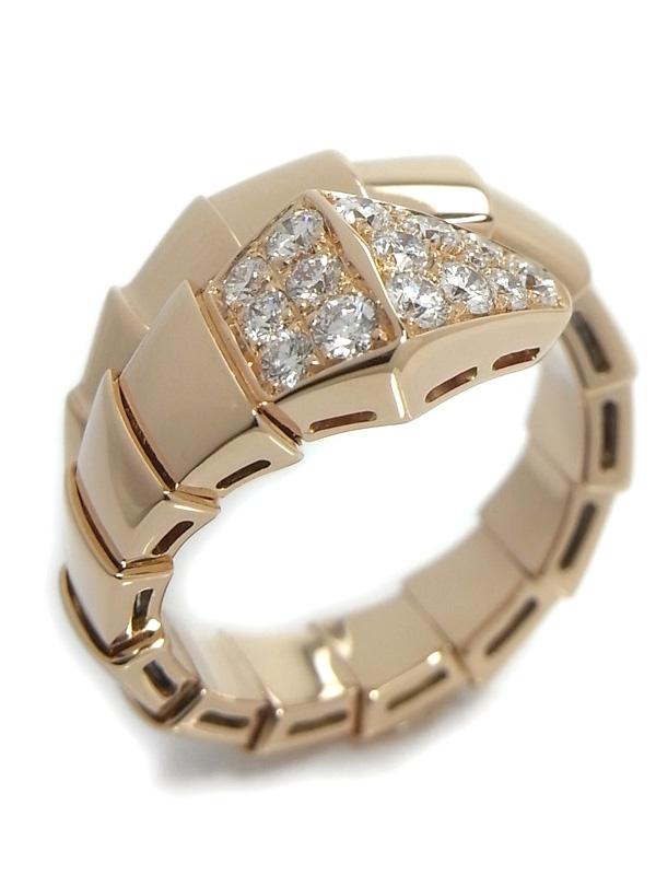 SA Nhẫn Bvlgari đầu rắn K18PG kim cương size 13