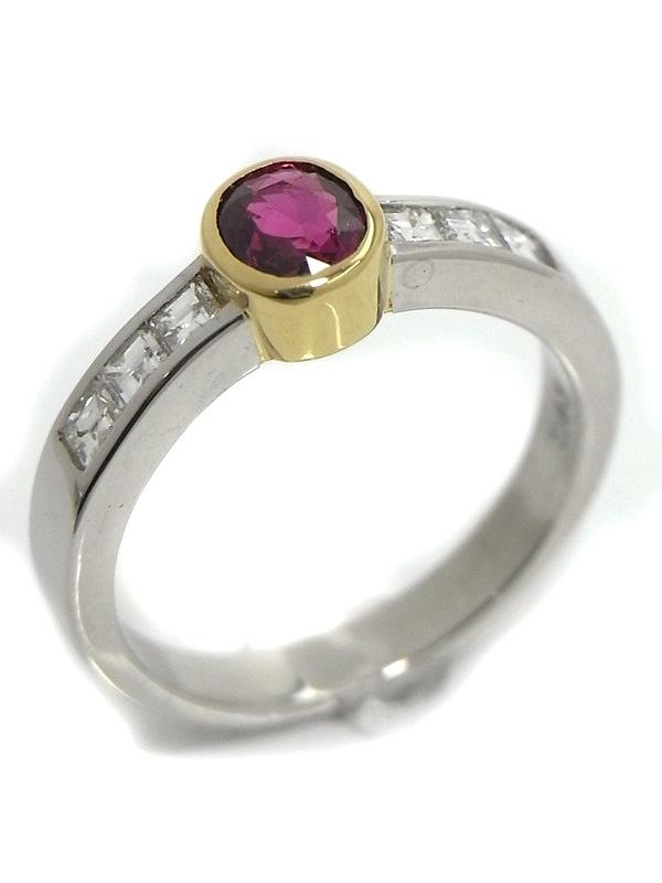 SA Nhẫn Tasaki Pt900 ruby kim cương 0.43ct size 12