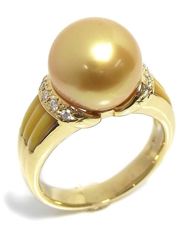 Nhẫn Tasaki K18YG ngọc trai kim cương 0.09ct size 13