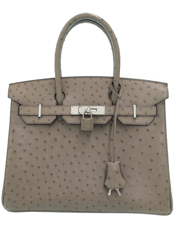 Túi xách Hermes Birkin 30 màu ghi da đà điểu