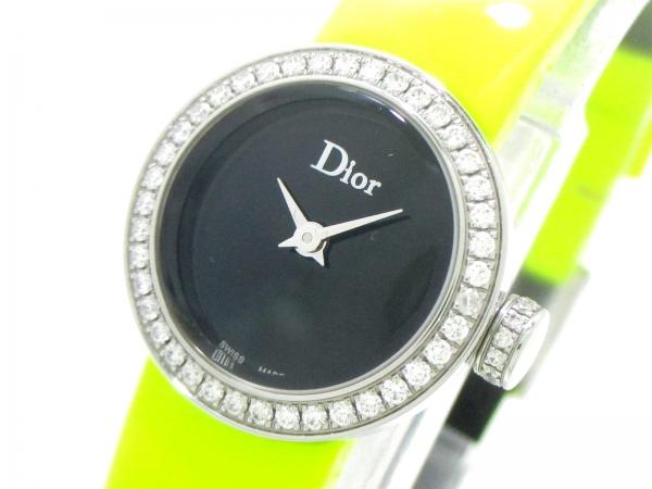 Đồng hồ Christian Dior kim cương dây da xanh