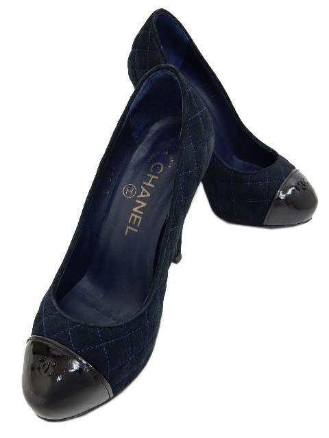 S Giày cao gót Chanel xanh hải quân size 35