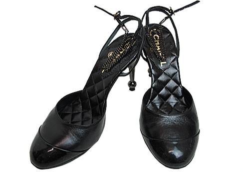 Giày cao gót Chanel màu đen hồng size 34 1/2