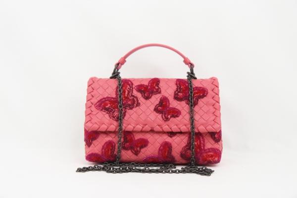 MS818185 túi Bottega veneta hồng thêu