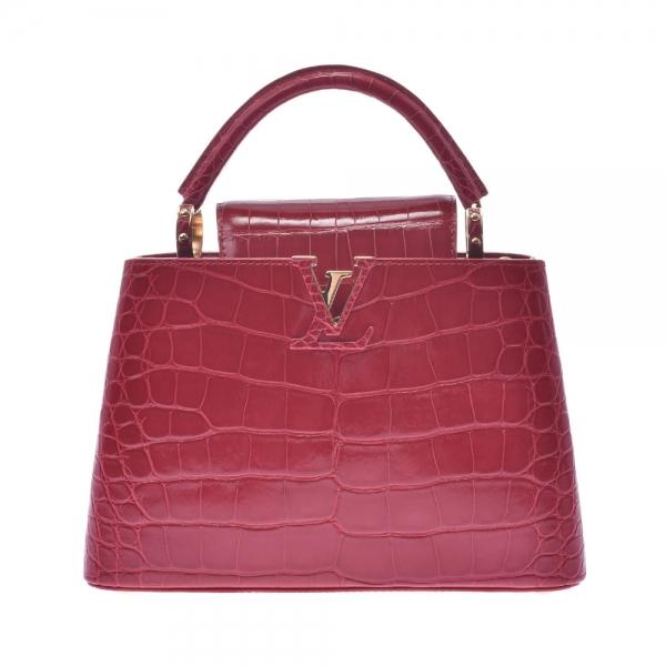 SA Túi Louis Vuitton Capucines BB da cá sấu màu đỏ